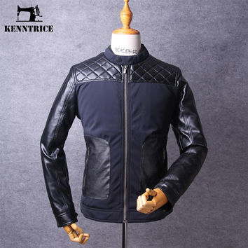 New Men's Leather jacket Patchwork Cotton Padded Jackets Winter Quilted jacket Coats