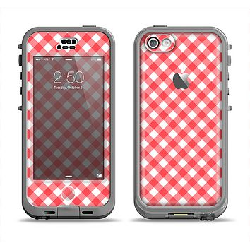 The Red & White Plaid Apple iPhone 5c LifeProof Nuud Case Skin Set