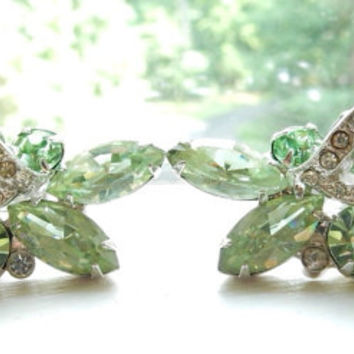 Rhinestone Jewelry Rhinestone Earrings Eisenberg Summer Green Rhinestone Earrings Rhinestone Climber Earrings 1950s Chic Mid Century Glamour