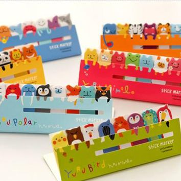 1 Pcs Cute Kawaii Planner Marker Animal Memo Pad  Sticky Notes School Office Supplies Stationery For Kids Students