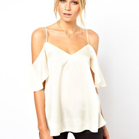 ASOS Cami With Cold Shoulders And Ruffle Sleeves