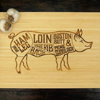 Pig Butcher Diagram Cutting Board (Pictured in Natural), approx. 12 x 16 inches, laser engraved, bamboo wood, Wedding or Anniversary gift