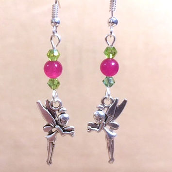 Tinkerbell Charm Dangle Earrings, Rose Jade & Peridot Crystal Beaded Tinkerbell Charm Earrings, Handmade Original Fashion Jewelry, Gift Idea