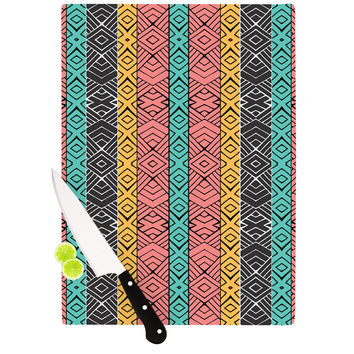 "Pom Graphic Design ""Artisian"" Pink Teal Cutting Board"