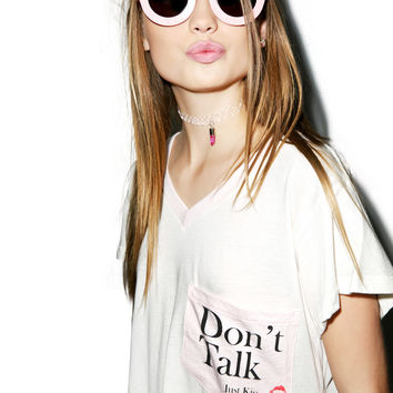 Wildfox Couture Don't Talk Just Kiss Romeo Pocket V-Neck Tee Vintage Lace