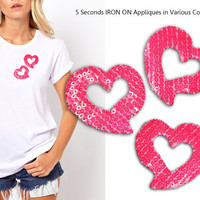 Iron On 3 Hearts Patch Applique for DIY Crafts and Home Decor