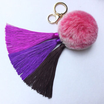 Purple/Brown Gradient Tassel Handbag Charm Fur Pom Pom ball keychain