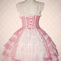 Pink Cotton Square Neck Sleeveless Sweet Lolita Dress