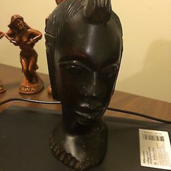 African Female Black Wooden Carving Figurine Statute
