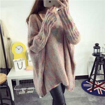 Plus Size Women's Fashion Winter Round-neck Long Sleeve Knit Batwing Sleeve Pullover Tops [189416505370]