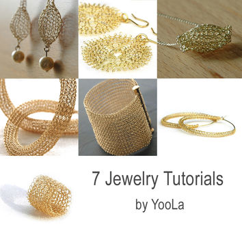 7 PDF jewelry tutorials , Wire crochet patterns
