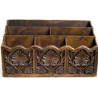 Vintage Floral Desk Organizer and Mail Sorter // desk letter holder caddy // faux wood