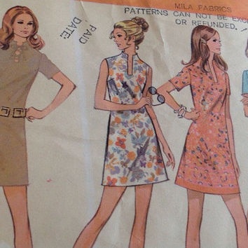 Vintage McCall, A Line Dress Sewing Pattern, Printed, 1970, Dress, Size 12, Bust 34,  Mid Century Fashion Misses Dress