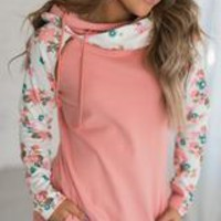 Pink Floral Double Hooded Sweatshirt