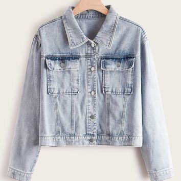 Plus Button Front Pocket Patch Denim Jacket