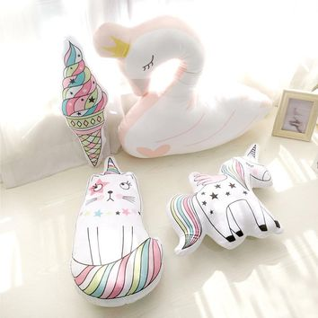 55cm Cartoon Swan Animal Toy rainbow unicorn cat plush pillow soft unicorn horse cushion plush toys New style doll baby
