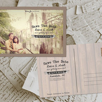 "50 Wedding Save The Date Card - Foresta Vintage Photo Personalized 4""x6"""
