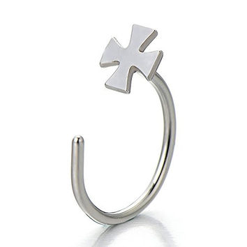 Stainless Steel Body Jewelry Piercing Cross Nose Hoop Ring