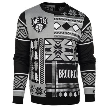 Brooklyn Nets Patches Ugly Crew Neck Sweater