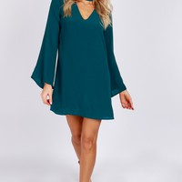 Keyhole Choker Dress Hunter Green