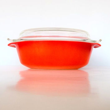 Fire King Covered Casserole - 1.5 Quart - Orange Ombre - Flameglo - With Au Gratin Lid