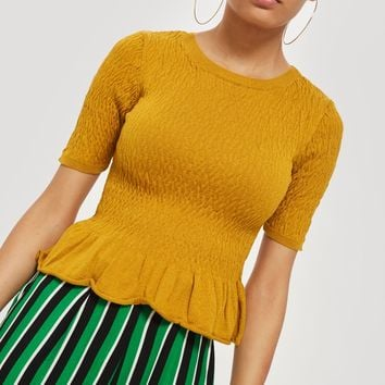 Shirred Knitted T-Shirt