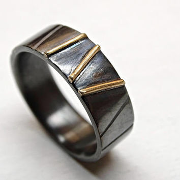 black silver gold wedding ring, mens wedding band two tone, celtic wedding ring, unique promise ring men cool mens ring silver architectural