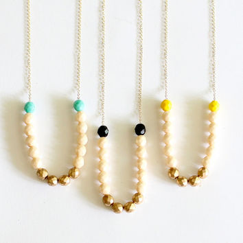 Turquoise and Gold Beaded Strand Necklace