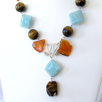 Gemstone statement necklace, tribal style, amazonite and tigers eye