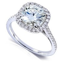 2 1/4ct TW Cushion Cut Moissanite and Diamond Engagement Ring in 14k White Gold - Size 7