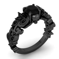 Black Skull Floral Ring Solid Silver Black Gold