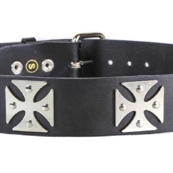 "Silver Iron Cross Black Leather Belt 1-3/4"" Wide"