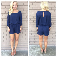 Nautical Navy 3/4 Sleeve Romper