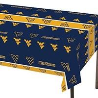 "Creative Converting West Virginia Mountaineers Plastic Table Cover, 54""x 108"""