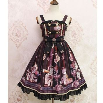 Steampunk Bear ~ Sweet Printed Lolita Casual Midi Dress by Alice Girl ~ Pre-order