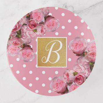 Pink Polkadot and Peonies Trinket Trays | Zazzle.co.uk