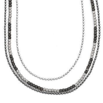 Two Tone Triple Strand Bead Necklace in Sterling Silver, 18-20 Inch
