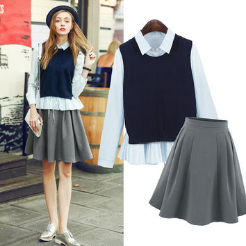 Shirt + Waistcoat + Skirt 3 Pieces Set