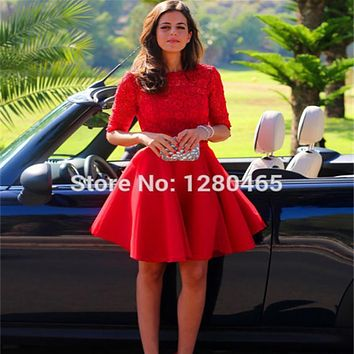 Short Red Lace and Tulle Party Dress Cocktail Dress Vestidos de Festa Open Back with Mid Sleeves Short Prom Dress