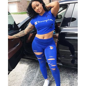 Champion Fashion New Summer Letter Print Hole Hooded Top And Pants Two Piece Suit Women Sapphire Blue