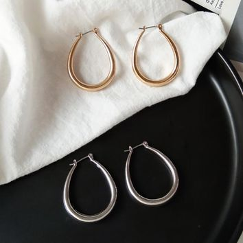 SRCOI Oval Circle Hoop Earrings Simple Minimalist Gold Silver Color Classic Geometric Women Ear Loop Punk Party Fashion Jewelry