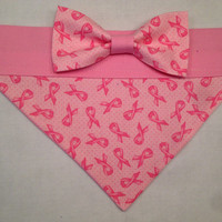 Dog Bandana - Breast Cancer Awareness Bandana with Bow