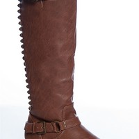 Breckelles Starting Something Studded Back Knee High Riding Boots - Tan