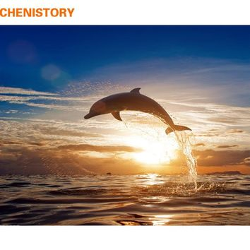 CHENISTORY Frameless Dolphin Sunset DIY Painting By Numbers Seascape Modern Wall Art Canvas Painting For Unique Gift Home Decor