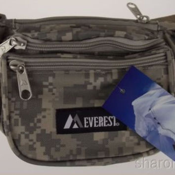 "Everest Fanny Pack Camouflage Digital Camo 46"" Waist Pack 3 Zipper Compartments"