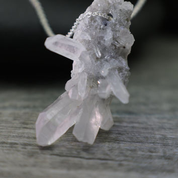 Raw Crystal Pendant Quartz Cluster Necklace Tiny Icicles Druzy Sparkle Rainbow Moonstone Sterling Silver Simple Chain Understated Jewelry