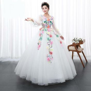 White Princess multi color Flowers Party dress Solo Stage Colored Yarn Dress