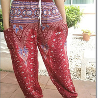 Red Peacock Printed Yoga Pants Hippie Baggy Boho Gypsy Pantalon Tribal Hipster Plus Size Aladdin Clothing Baggy Unisex Harem Wide Legs