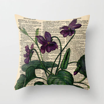 Throw Pillow Cover Violets Purple Flowers on a Vintage Dictionary Page - 16x16, 18x18, 20x20 - Home Décor by CARTISIM