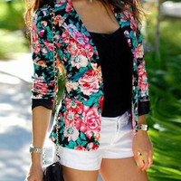 Black Floral Print Long Sleeve Blazer